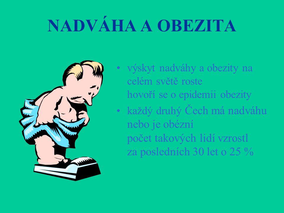 NADVÁHA A OBEZITA •výskyt nadváhy a obezity na celém světě roste hovoří se o epidemii obezity •každý druhý Čech má nadváhu nebo je obézní počet takový