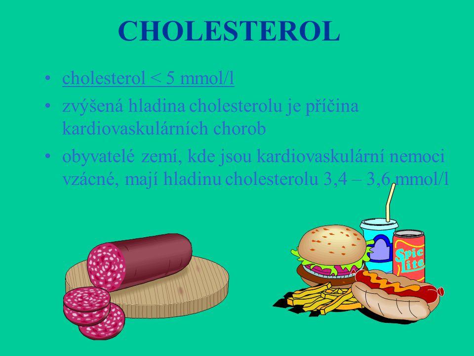 CHOLESTEROL •cholesterol < 5 mmol/l •zvýšená hladina cholesterolu je příčina kardiovaskulárních chorob •obyvatelé zemí, kde jsou kardiovaskulární nemo