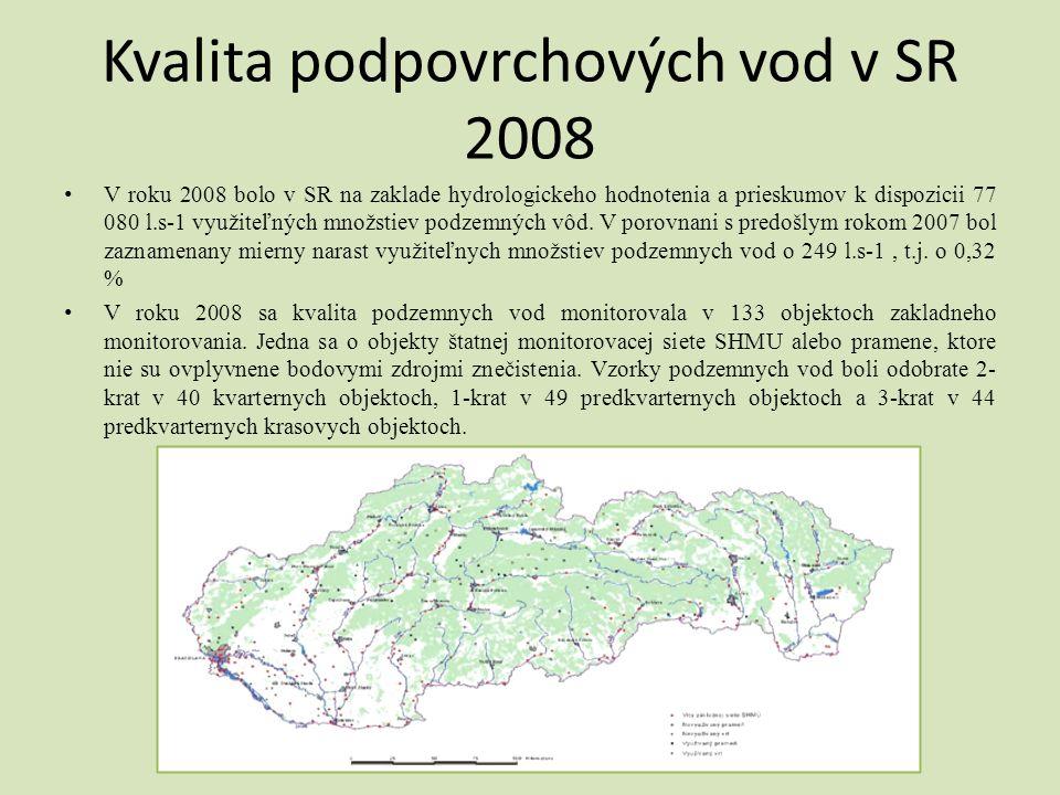 Kvalita podpovrchových vod v SR 2008 • V roku 2008 bolo v SR na zaklade hydrologickeho hodnotenia a prieskumov k dispozicii 77 080 l.s-1 využiteľných