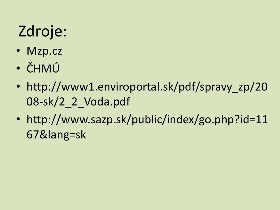 Zdroje: • Mzp.cz • ČHMÚ • http://www1.enviroportal.sk/pdf/spravy_zp/20 08-sk/2_2_Voda.pdf • http://www.sazp.sk/public/index/go.php?id=11 67&lang=sk