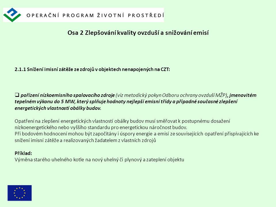 Osa 2 Zlepšování kvality ovzduší a snižování emisí 2.1.1 Snížení imisní zátěže ze zdrojů v objektech nenapojených na CZT:  pořízení nízkoemisního spa