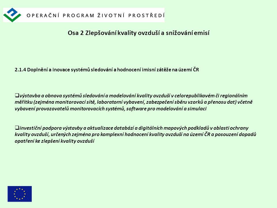 Osa 2 Zlepšování kvality ovzduší a snižování emisí 2.1.4 Doplnění a inovace systémů sledování a hodnocení imisní zátěže na území ČR  výstavba a obnov