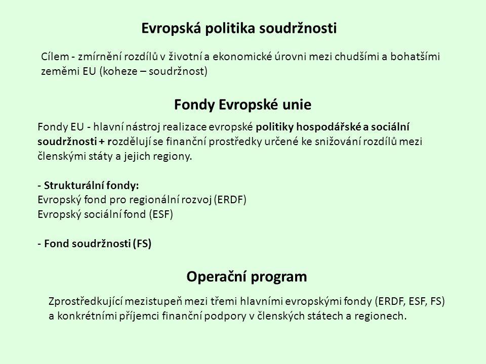 Cílem - zmírnění rozdílů v životní a ekonomické úrovni mezi chudšími a bohatšími zeměmi EU (koheze – soudržnost) Evropská politika soudržnosti Fondy E
