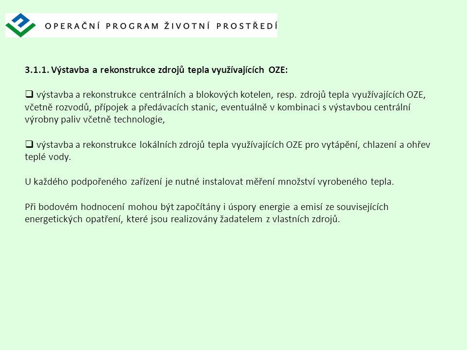 3.1.1. Výstavba a rekonstrukce zdrojů tepla využívajících OZE:  výstavba a rekonstrukce centrálních a blokových kotelen, resp. zdrojů tepla využívají