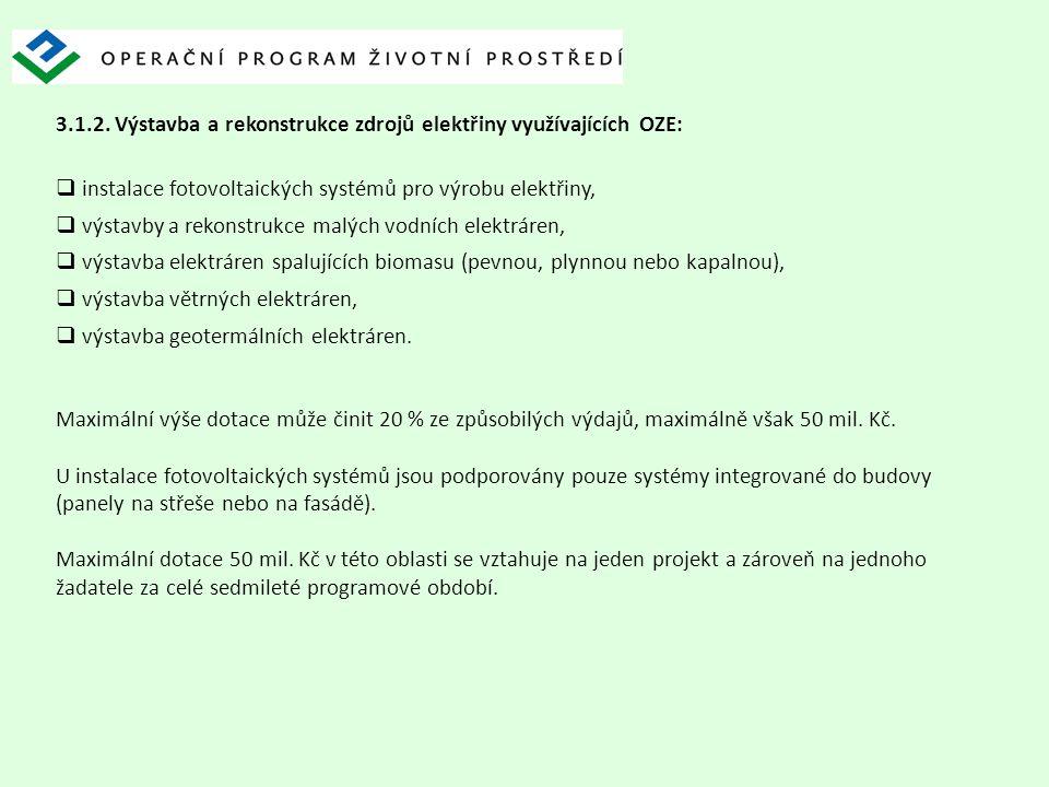 3.1.2. Výstavba a rekonstrukce zdrojů elektřiny využívajících OZE:  instalace fotovoltaických systémů pro výrobu elektřiny,  výstavby a rekonstrukce