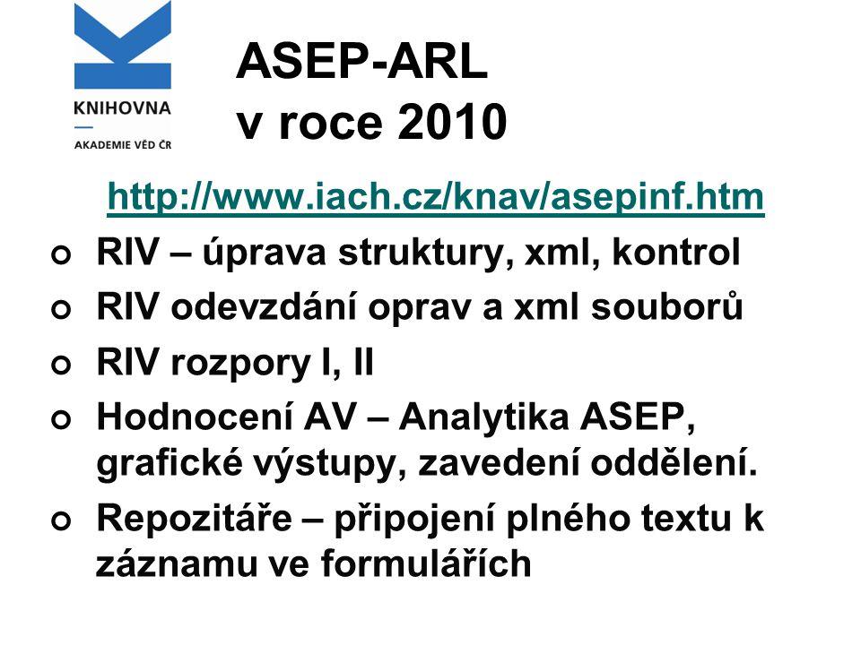 ASEP-ARL v roce 2010 http://www.iach.cz/knav/asepinf.htm RIV – úprava struktury, xml, kontrol RIV odevzdání oprav a xml souborů RIV rozpory I, II Hodnocení AV – Analytika ASEP, grafické výstupy, zavedení oddělení.