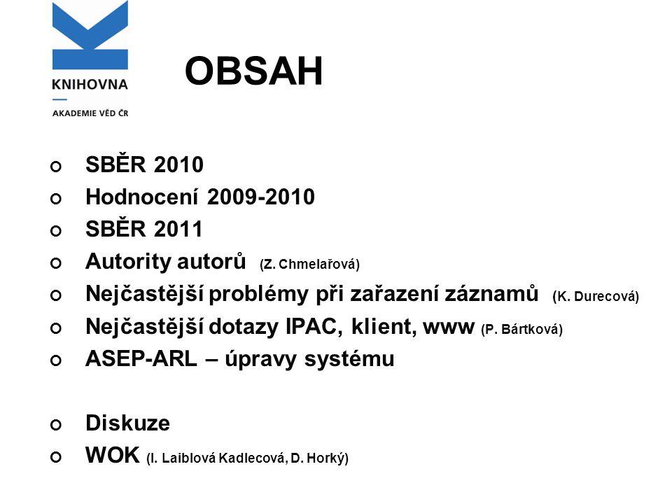 OBSAH SBĚR 2010 Hodnocení 2009-2010 SBĚR 2011 Autority autorů (Z.