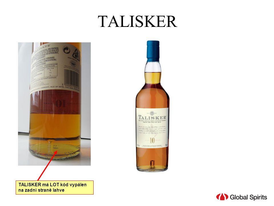 TALISKER TALISKER má LOT kód vypálen na zadní straně lahve