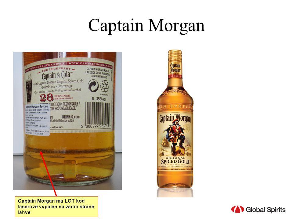 Captain Morgan Captain Morgan má LOT kód laserově vypálen na zadní straně lahve