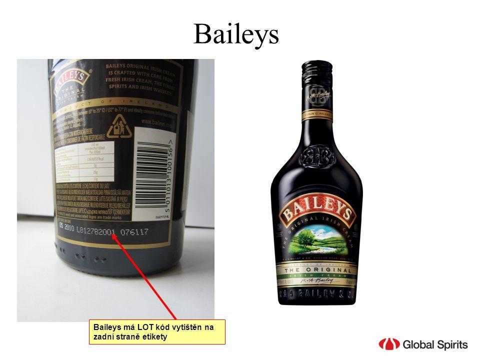 Baileys má LOT kód vytištěn na zadní straně etikety Baileys