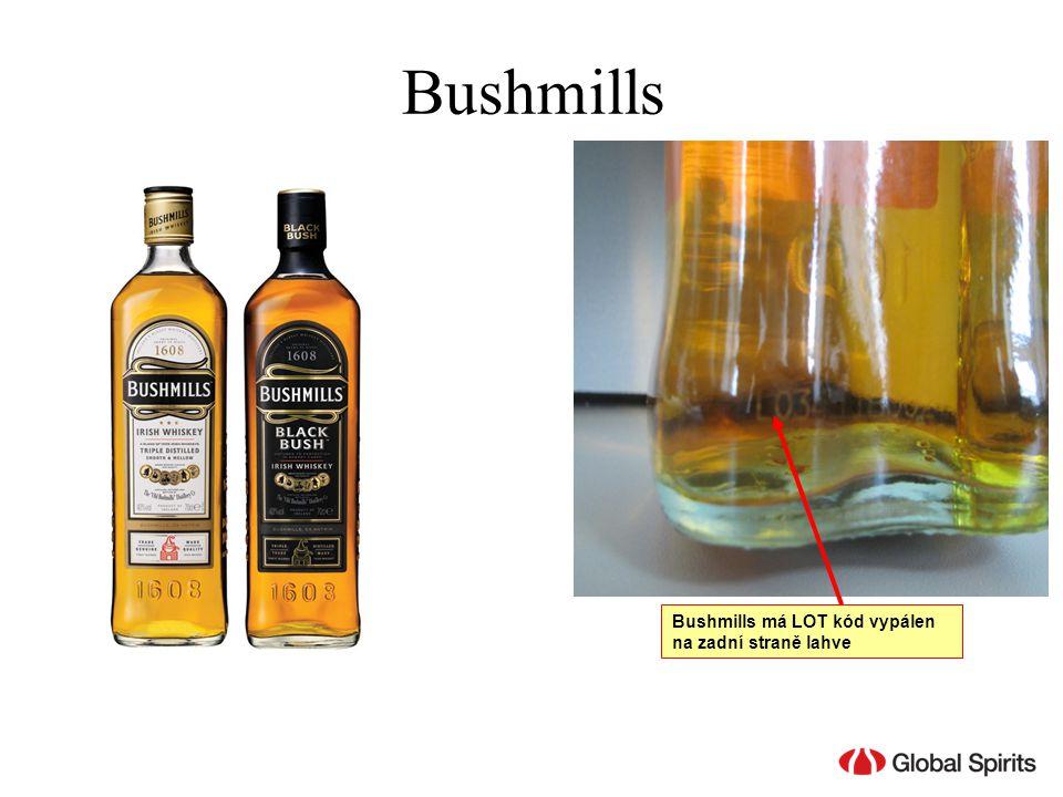 Bushmills Bushmills má LOT kód vypálen na zadní straně lahve