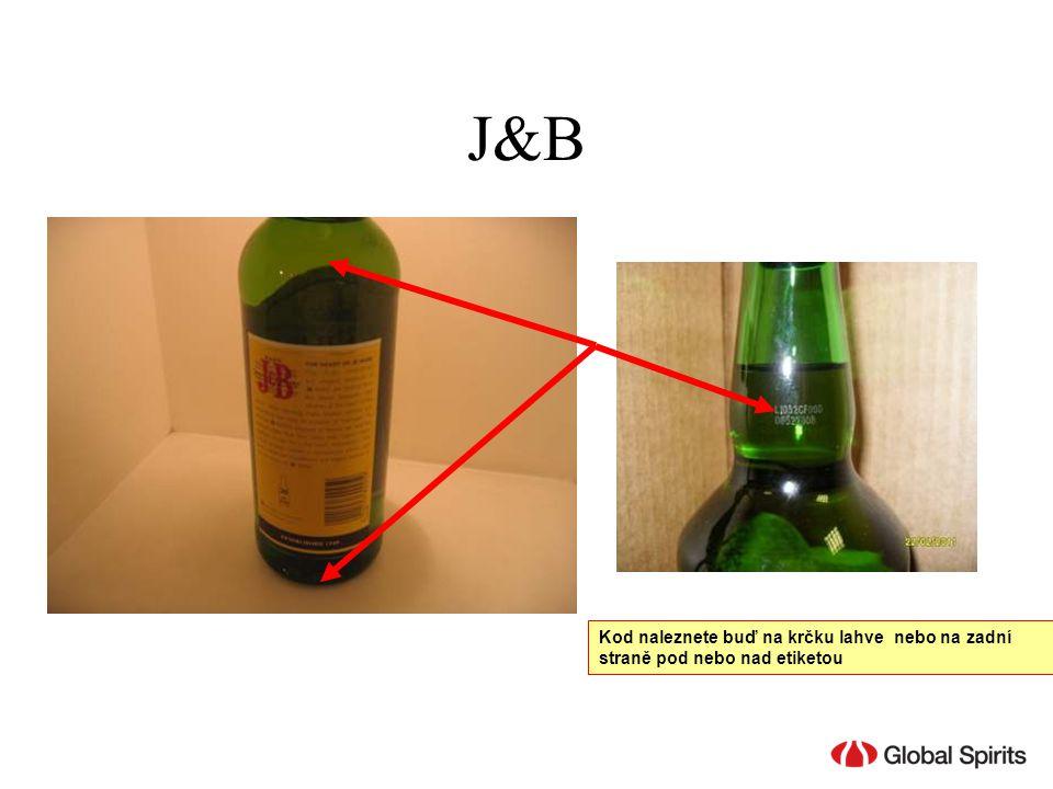 J&B Kod naleznete buď na krčku lahve nebo na zadní straně pod nebo nad etiketou