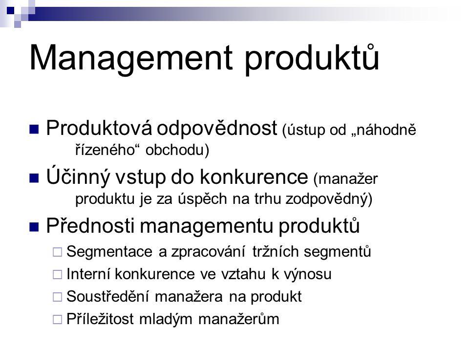 """Management produktů  Produktová odpovědnost (ústup od """"náhodně řízeného obchodu)  Účinný vstup do konkurence (manažer produktu je za úspěch na trhu zodpovědný)  Přednosti managementu produktů  Segmentace a zpracování tržních segmentů  Interní konkurence ve vztahu k výnosu  Soustředění manažera na produkt  Příležitost mladým manažerům"""