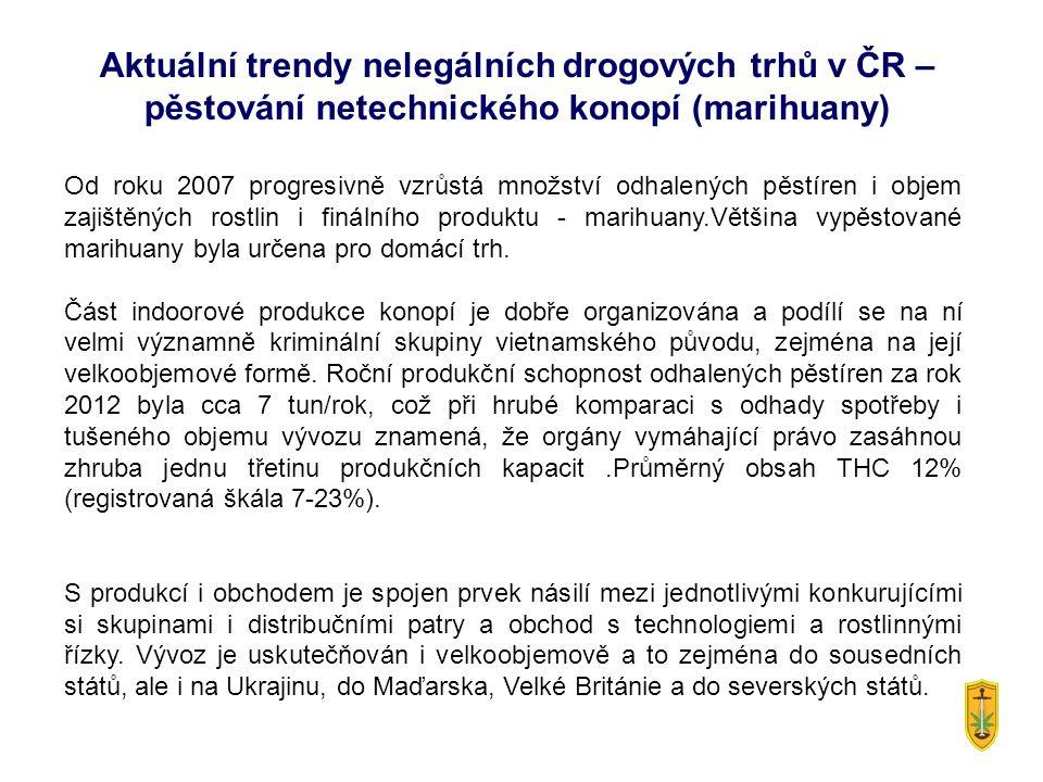 Aktuální trendy nelegálních drogových trhů v ČR – pěstování netechnického konopí (marihuany) Od roku 2007 progresivně vzrůstá množství odhalených pěstíren i objem zajištěných rostlin i finálního produktu - marihuany.Většina vypěstované marihuany byla určena pro domácí trh.