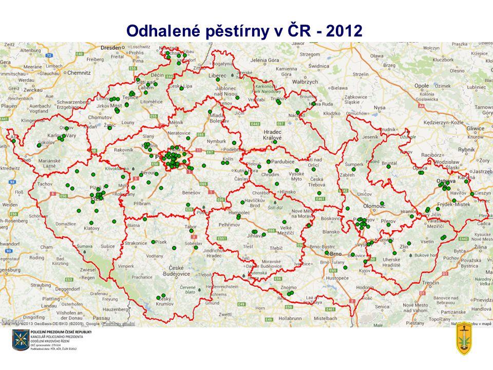 Odhalené pěstírny v ČR - 2012