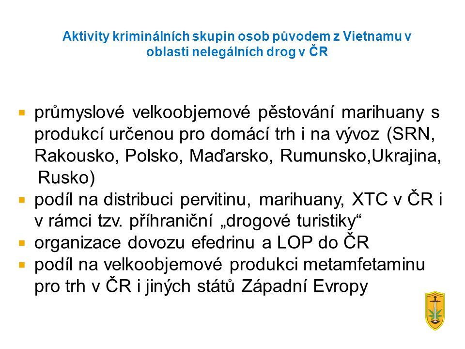  průmyslové velkoobjemové pěstování marihuany s produkcí určenou pro domácí trh i na vývoz (SRN, Rakousko, Polsko, Maďarsko, Rumunsko,Ukrajina, Rusko