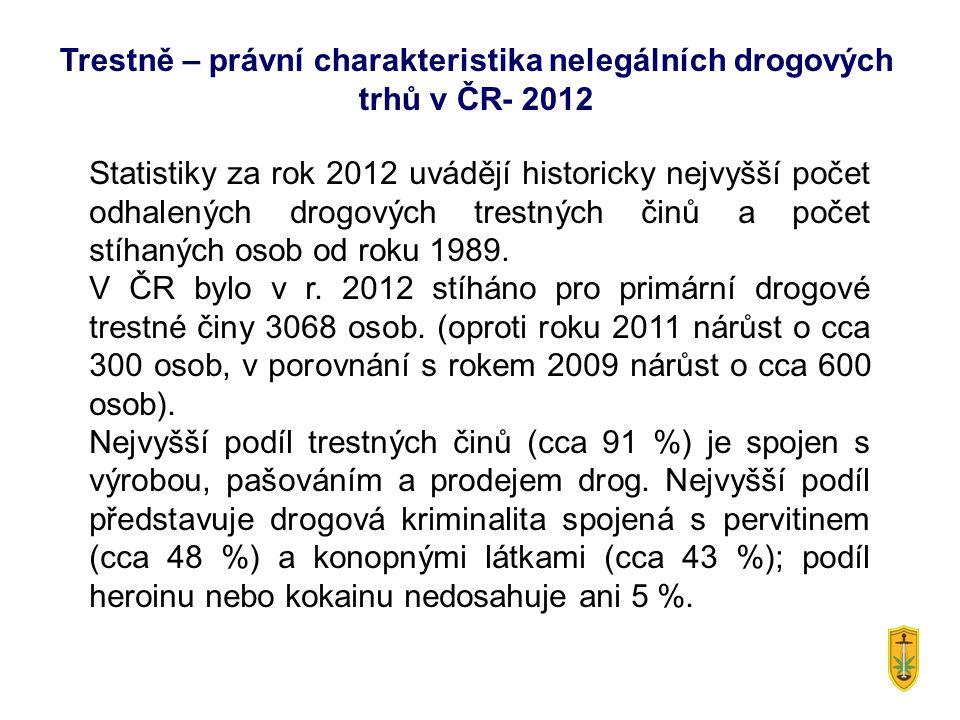 Statistiky za rok 2012 uvádějí historicky nejvyšší počet odhalených drogových trestných činů a počet stíhaných osob od roku 1989. V ČR bylo v r. 2012
