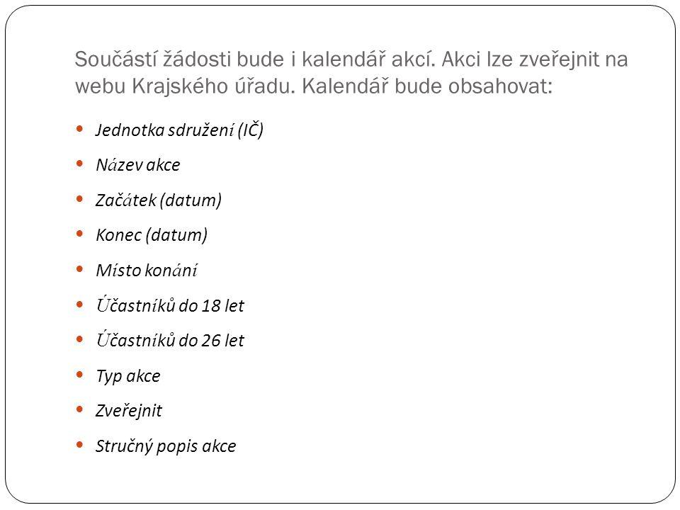 Součástí žádosti bude i kalendář akcí. Akci lze zveřejnit na webu Krajského úřadu.