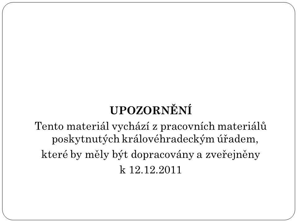 UPOZORNĚNÍ Tento materiál vychází z pracovních materiálů poskytnutých královéhradeckým úřadem, které by měly být dopracovány a zveřejněny k 12.12.2011