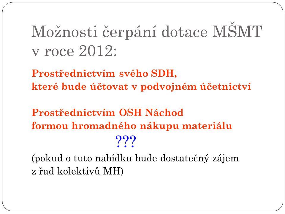 Možnosti čerpání dotace MŠMT v roce 2012: Prostřednictvím svého SDH, které bude účtovat v podvojném účetnictví Prostřednictvím OSH Náchod formou hromadného nákupu materiálu ??.