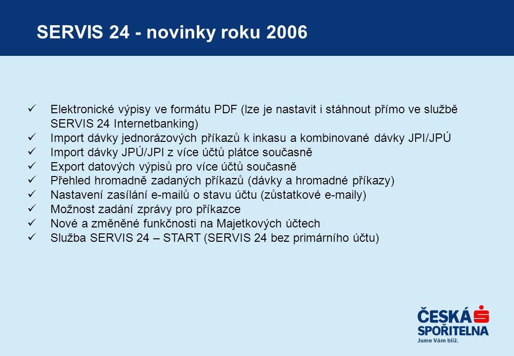 SERVIS 24 - novinky roku 2006  Elektronické výpisy ve formátu PDF (lze je nastavit i stáhnout přímo ve službě SERVIS 24 Internetbanking)  Import dáv