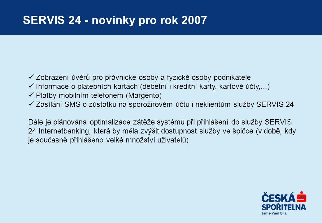 SERVIS 24 - novinky pro rok 2007  Zobrazení úvěrů pro právnické osoby a fyzické osoby podnikatele  Informace o platebních kartách (debetní i kreditn