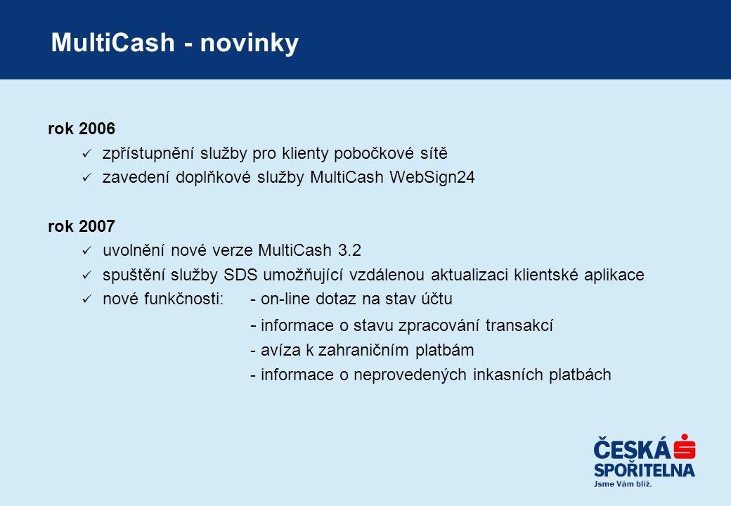 rok 2006  zpřístupnění služby pro klienty pobočkové sítě  zavedení doplňkové služby MultiCash WebSign24 rok 2007  uvolnění nové verze MultiCash 3.2