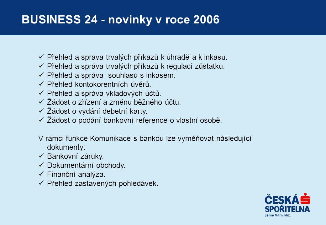 BUSINESS 24 - novinky v roce 2006  Přehled a správa trvalých příkazů k úhradě a k inkasu.  Přehled a správa trvalých příkazů k regulaci zůstatku. 