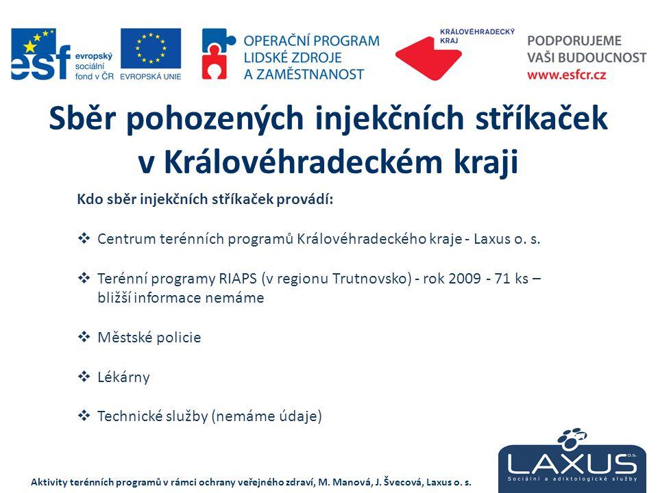 Kdo sběr injekčních stříkaček provádí:  Centrum terénních programů Královéhradeckého kraje - Laxus o. s.  Terénní programy RIAPS (v regionu Trutnovs