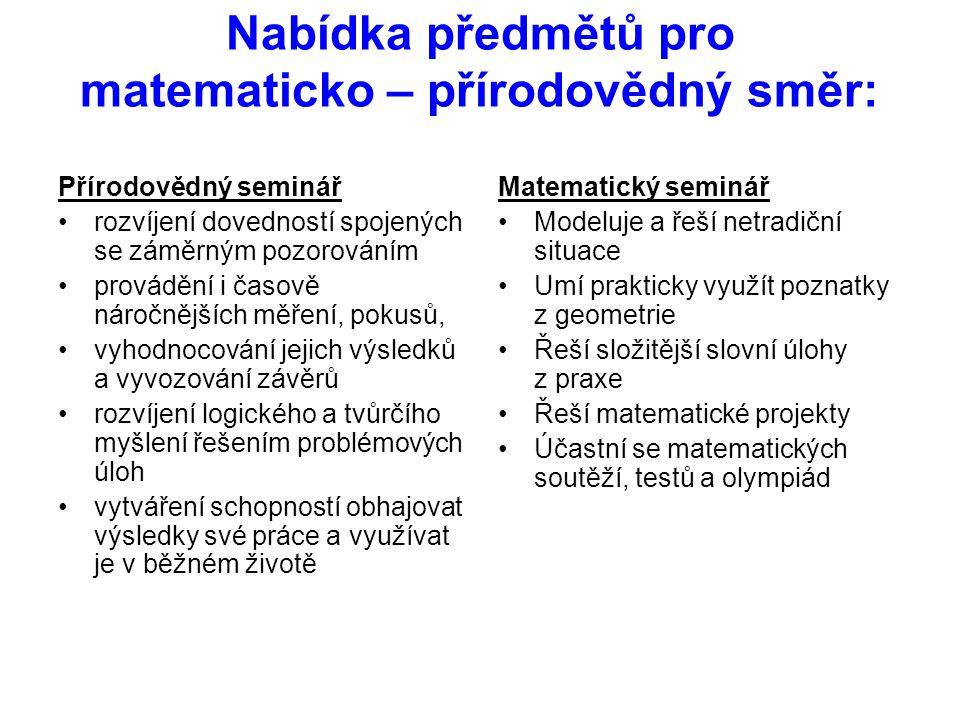 Nabídka předmětů pro matematicko – přírodovědný směr: Přírodovědný seminář •rozvíjení dovedností spojených se záměrným pozorováním •provádění i časově