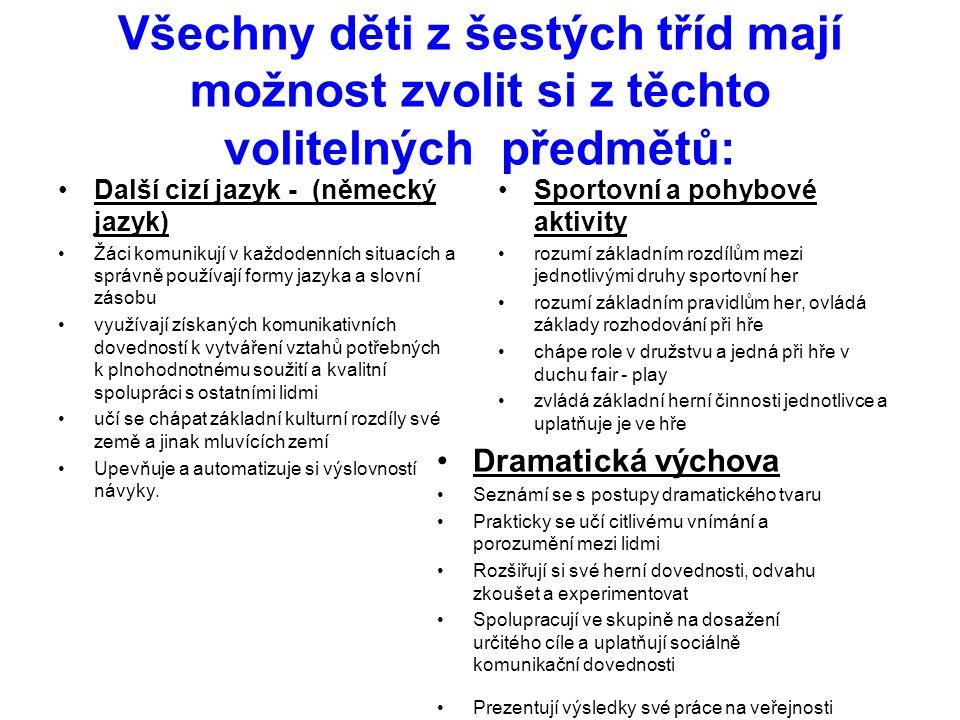 Všechny děti z šestých tříd mají možnost zvolit si z těchto volitelných předmětů: •Další cizí jazyk - (německý jazyk) •Žáci komunikují v každodenních