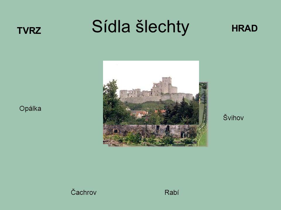 Sídla šlechty TVRZ HRAD Opálka Čachrov Švihov Rabí