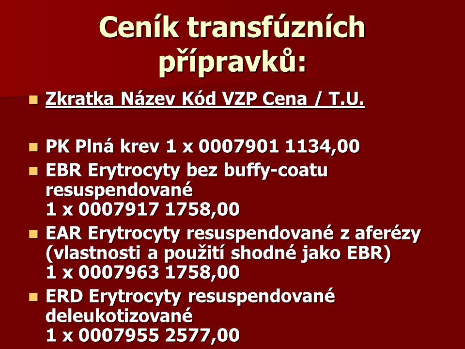 Ceník transfúzních přípravků:  Zkratka Název Kód VZP Cena / T.U.  PK Plná krev 1 x 0007901 1134,00  EBR Erytrocyty bez buffy-coatu resuspendované 1