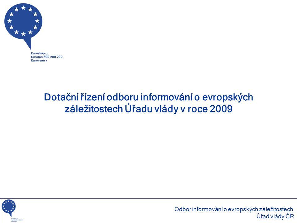 Dotační řízení odboru informování o evropských záležitostech Úřadu vlády v roce 2009 Odbor informování o evropských záležitostech Úřad vlády ČR
