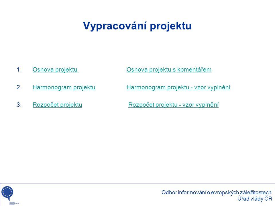 Vypracování projektu 1.Osnova projektu Osnova projektu s komentářemOsnova projektu Osnova projektu s komentářem 2.Harmonogram projektuHarmonogram proj