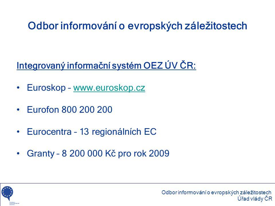 Odbor informování o evropských záležitostech Integrovaný informační systém OEZ ÚV ČR: •Euroskop – www.euroskop.czwww.euroskop.cz •Eurofon 800 200 200