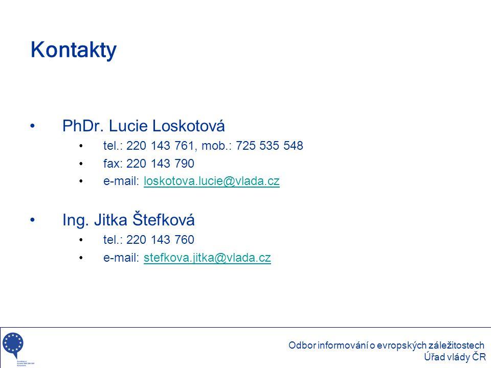 Kontakty •PhDr. Lucie Loskotová •tel.: 220 143 761, mob.: 725 535 548 •fax: 220 143 790 •e-mail: loskotova.lucie@vlada.czloskotova.lucie@vlada.cz •Ing