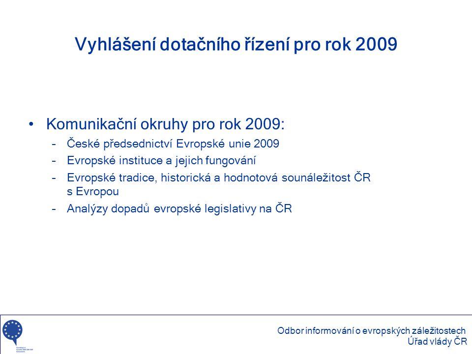 Vyhlášení dotačního řízení pro rok 2009 •Komunikační okruhy pro rok 2009: –České předsednictví Evropské unie 2009 –Evropské instituce a jejich fungová