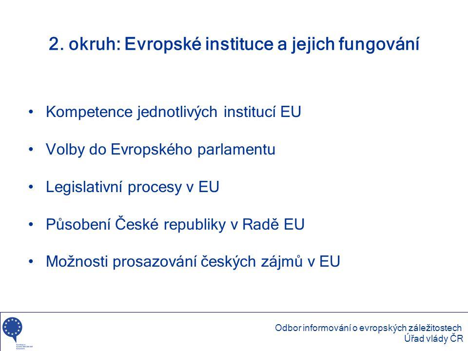 2. okruh: Evropské instituce a jejich fungování •Kompetence jednotlivých institucí EU •Volby do Evropského parlamentu •Legislativní procesy v EU •Půso