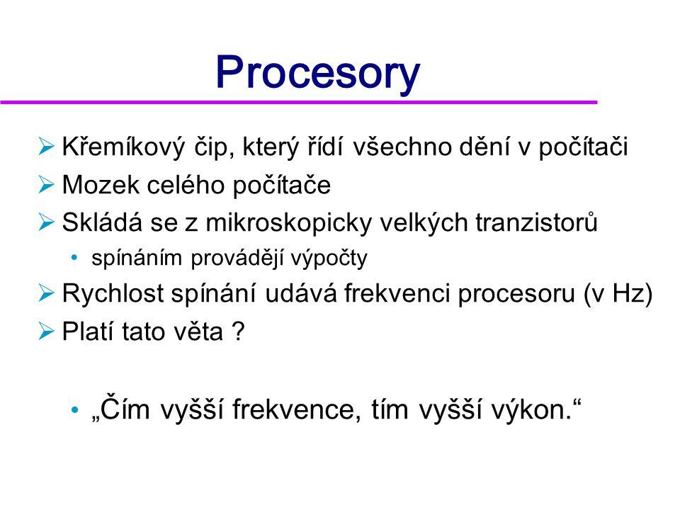 Vývoj procesorů - zkratky  f = frekvence  D = šířka datové sběrnice  A = šířka adresové sběrnice