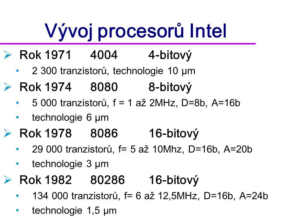 Vývoj procesorů Intel  Rok 1995 Pentium Pro (P6) •5 500 000 tranzistorů •patice Socket 8 •superskalární architektura  tři nezávislé pipelines  Rok 1996 Pentium MMX •přidáno 7 multimediálních instrukcí  Multi Media eXtension •patice Socket 7 •výrobní proces 280nm