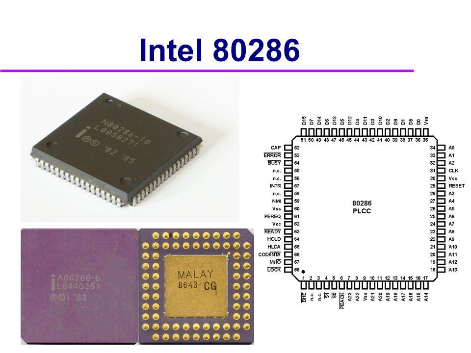 Vývoj procesorů Intel  Rok 1986 80386 •275 000 tranzistorů, f=16 až 33 MHz, A=32b •2 modely  DX D=32b uvnitř i navenek  SX vnitřně 32-bitový, navenek D=16b  Rok 1989 80486 •1 200 000 tranzistorů, f=16 až 100 MHz, A=32b, D=32b •technologie 0,6 μm •2 modely  DX s matematickým koprocesorem  SX bez matematického koprocesoru (není připojen)
