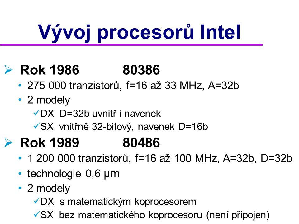 Architektura  Sekvenční •instrukce se zpracovávají jedna po druhé  starší typy do 486  Skalární •zpracovává několik instrukcí najednou •lze toho docílit  zdvojením funkčních celků (pentia)  promyšleným návrhem mikroprocesoru -jednotlivé celky pracují nezávisle na sobě •zrychlujícím prvkem je pipelining