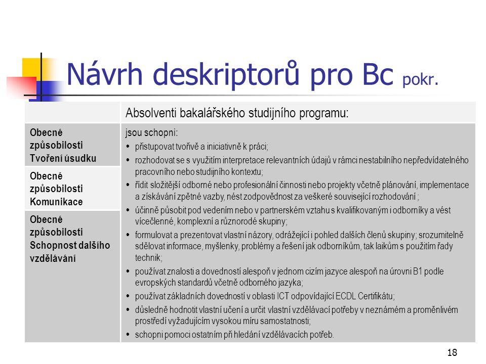 18 Návrh deskriptorů pro Bc pokr. Absolventi bakalářského studijního programu: Obecné způsobilosti Tvoření úsudku jsou schopni:  přistupovat tvořivě