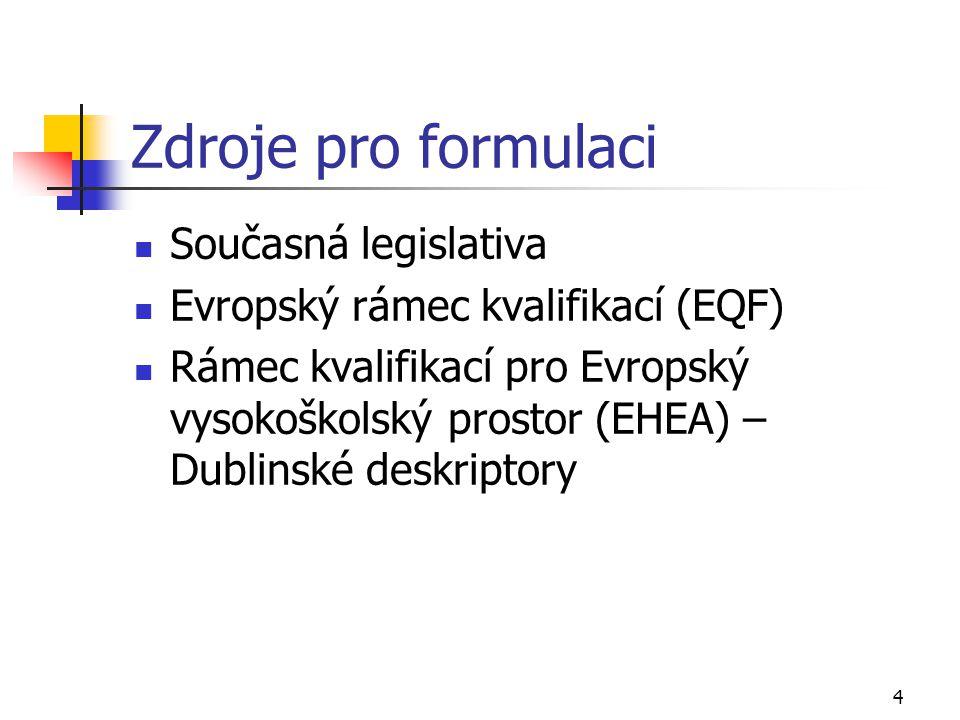 4 Zdroje pro formulaci  Současná legislativa  Evropský rámec kvalifikací (EQF)  Rámec kvalifikací pro Evropský vysokoškolský prostor (EHEA) – Dubli