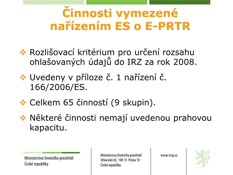 Činnosti vymezené nařízením ES o E-PRTR  Rozlišovací kritérium pro určení rozsahu ohlašovaných údajů do IRZ za rok 2008.