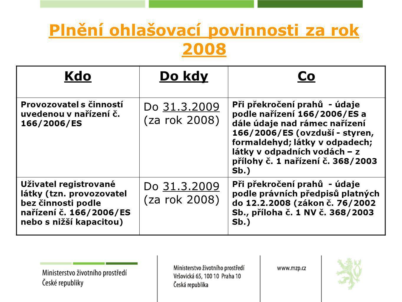 Plnění ohlašovací povinnosti za rok 2008 KdoDo kdyCo Provozovatel s činností uvedenou v nařízení č.