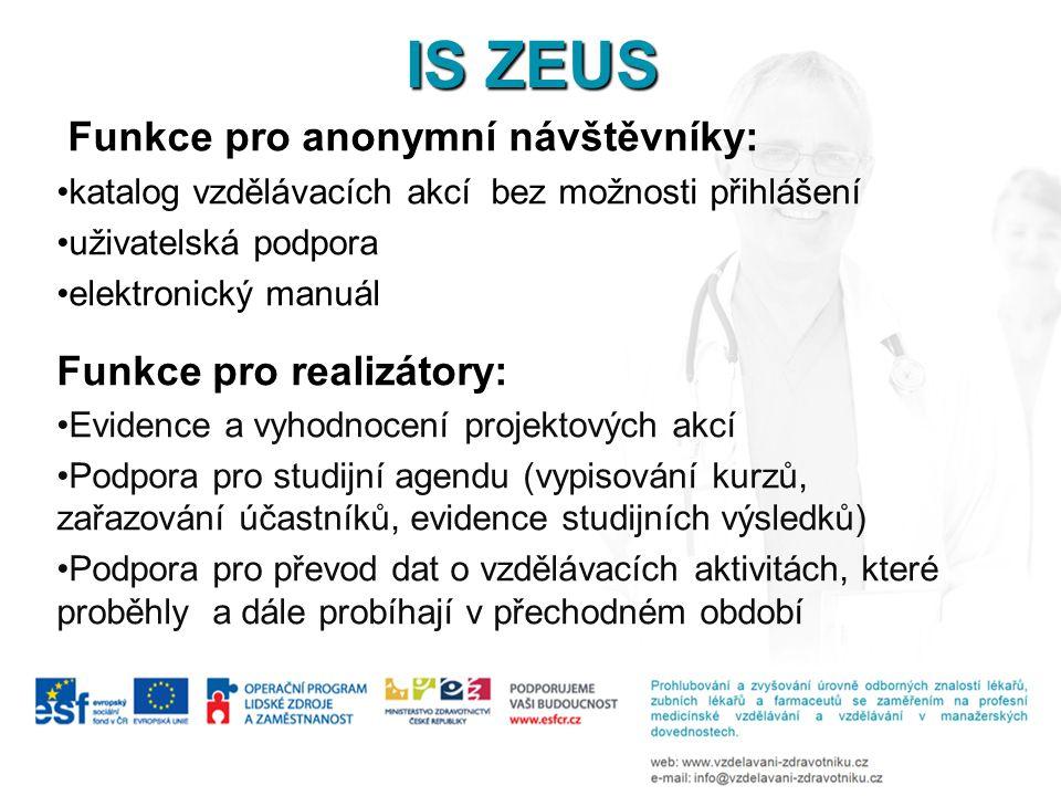 IS ZEUS Funkce pro anonymní návštěvníky: •katalog vzdělávacích akcí bez možnosti přihlášení •uživatelská podpora •elektronický manuál Funkce pro reali