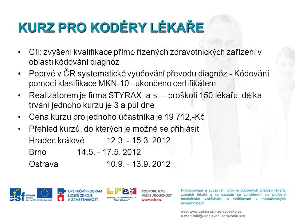 KURZ PRO KODÉRY LÉKAŘE •Cíl: zvýšení kvalifikace přímo řízených zdravotnických zařízení v oblasti kódování diagnóz •Poprvé v ČR systematické vyučování