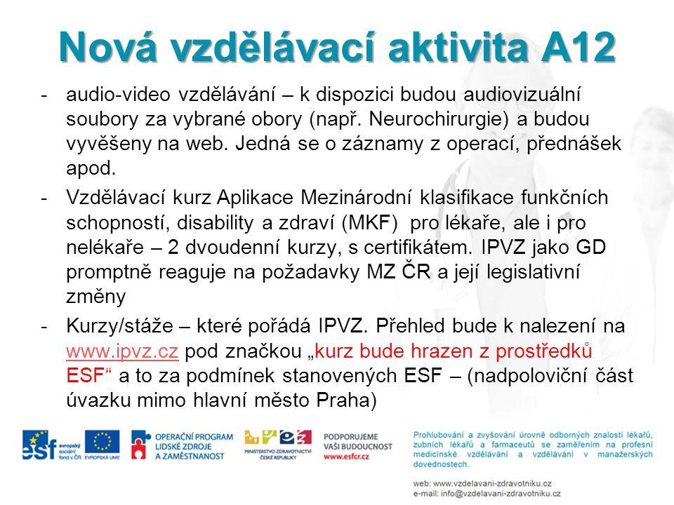 Nová vzdělávací aktivita A12 -audio-video vzdělávání – k dispozici budou audiovizuální soubory za vybrané obory (např. Neurochirurgie) a budou vyvěšen